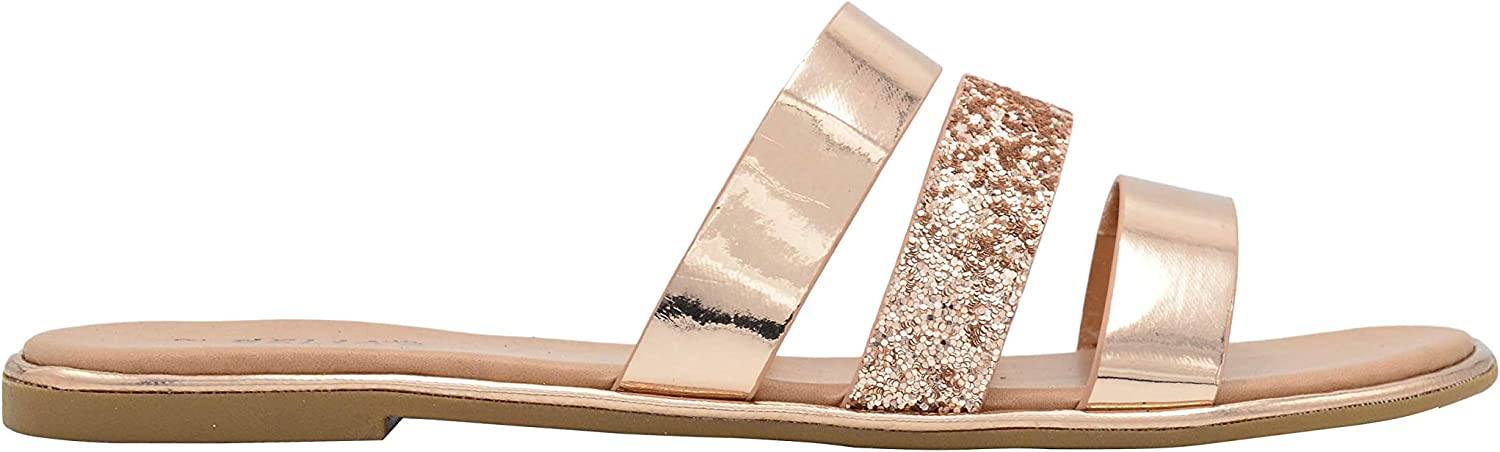 DELiAs Ladies Fashion Sandals Metallic and Glitter Slip On Flats with Welt Detail