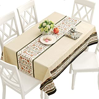 DUOFIRE Vinyl Tablecloth Rectangle Heavy Weight Table Cover Wipe Clean Waterproof (54 x 86.6 Inch, Color-No.015)