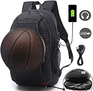 Basketball Backpacks Sports Bags for Football, Soccer with Ball Compartment Laptop Computer Backpack with USB Charging & Headphone Port Fit 15.6 inch Notebook for Men Women Youth