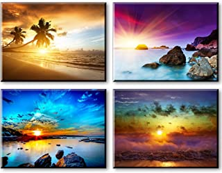 Beach Theme Decor for Bedroom, PIY HD Beautiful Sunset Sea Wall Art, Colorful Canvas Prints Home Decorations (4 Piece 1