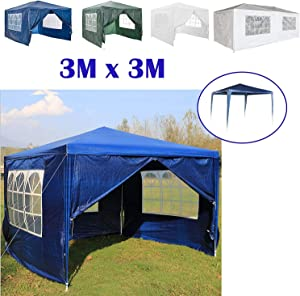 AutoBaBa 3x3m Waterproof Garden Gazebo Marquee Canopy Tent Steel Tube Strong Marquee  PE  Blue