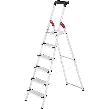 Hailo XXL Escalera taburete Aluminio, Negro, Rojo - Escalera de mano (3,05 m, 150 kg, 6,7 kg, 13 cm): Amazon.es: Bricolaje y herramientas