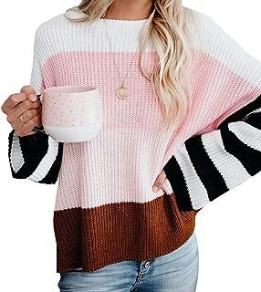 KIRUNDO Women's Color Block Sweater Crew Neck Lightweight Oversized Jumper Tops Long Sleeves Knit Pullovers
