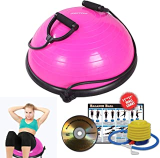RitFit Premium Balance Ball Trainer with Resistance Bands (Free Foot Pump, Exercise Wall Chart, Workout DVD and Measuring Tape)