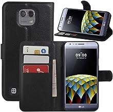 HualuBro Funda LG X CAM, [Protección Todo Alrededor] Premium PU Cuero Leather Billetera Wallet Carcasa Case Flip Cover para LG X CAM (Negro)