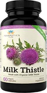Organic Milk Thistle | Non GMO 2000mg 4X Concentrated Vegan Daily Supplement w/Silymarin Seed Extract for Liver Support, Detox and Cleanse - 60 Veggie Capsules