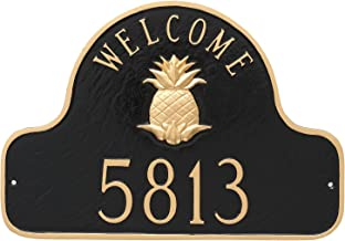 "product image for Montague Metal Pineapple Welcome Arch Address Sign Plaque, 11"" x 16"", Black/Gold"