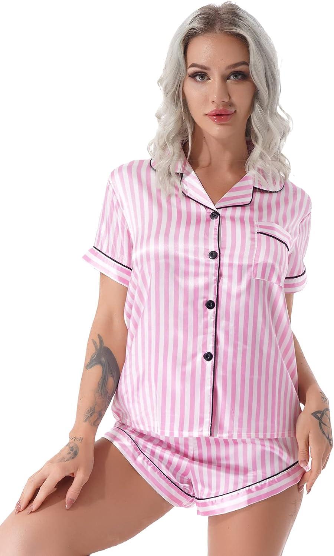 JEEYJOO Pajamas Set Short Sleeve Sleepwear Womens Button Down Nightwear Soft Pj Lounge Sets