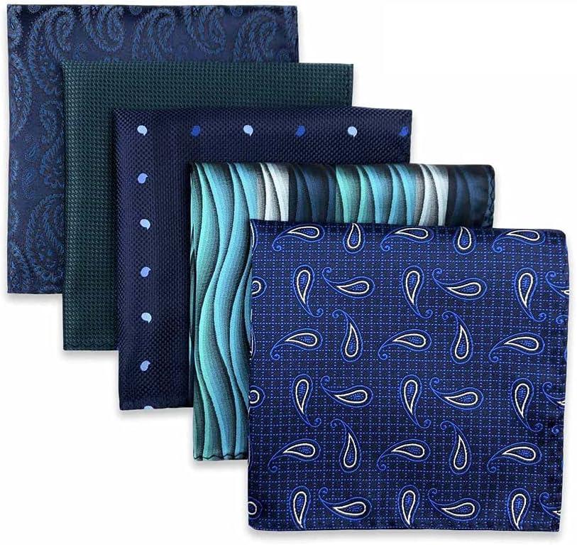 UXZDX CUJUX 5 Pieces Assorted Mens Pocket Square Silk Handkerchief Set Accessories Gift Party (Color : D, Size : 32x32CM)