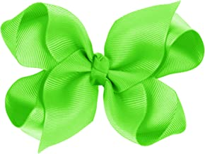 CoverYourHair Hair Bows – Bows for Girls – Grosgrain Bow – Cheer Bows – Alligator Clip Bows (Neon Green)