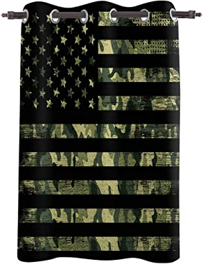 Z&L Home Blackout Window Curtains Thermal Insulated Drapes USA Flag with Army Camouflage Grommet Window Panel Darkening Treat