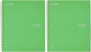 "Five Star Spiral Notebook, 1 Subject, College Ruled Paper, 100 Sheets, 11"" x 8-1/2"", School, Wired, Green (72055) - 2 Pack"