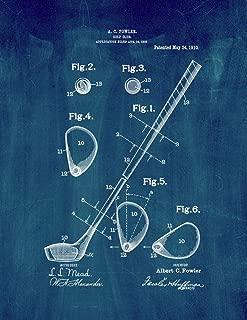 Golf Club Patent Print Midnight Blue (8.5