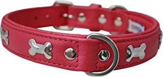 """Angel,Rotterdam Bones, 22"""" x 1"""" Hot Pink Genuine Leather Dog Collar, Soft Padded, Stainless Steel Hardware, Fits most Boxe..."""