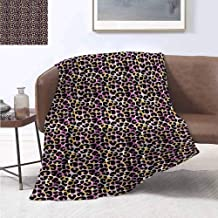 jecycleus Leopard Print Children's Blanket Abstract Wild Exotic Animal Skin Pattern in Artistic Style with Vibrant Color Lightweight Soft Warm and Comfortable W60 by L70 Inch Multicolor