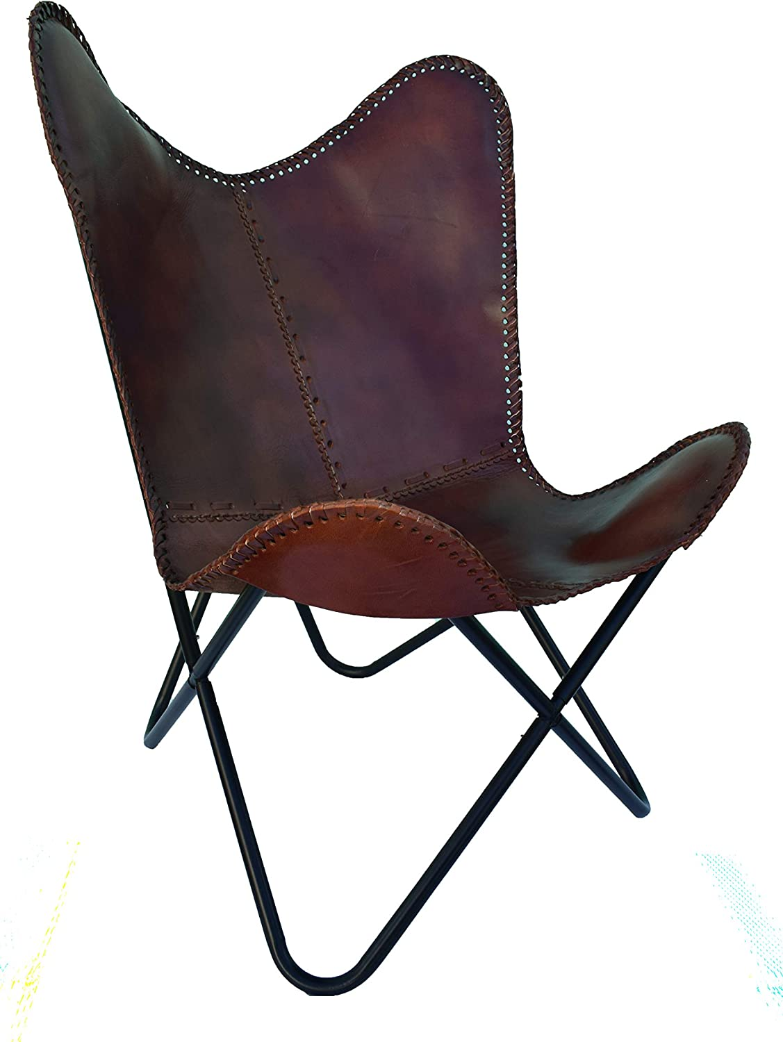New Vintage Leather Butterfly Chair Home Decor Handmade Living Room Chair Retro Classic Rich Brown Cover