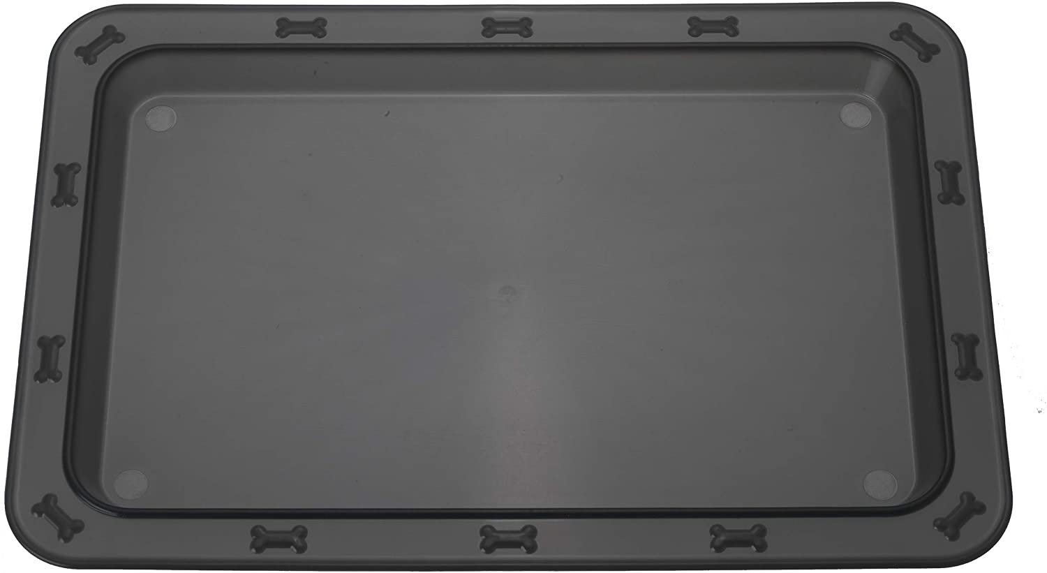 PetRageous 70669 Bone N Up Non-Slip Clear Plastic Dog and Cat Feeding Tray 19.25-Inch by 13-Inch Great for Dogs and Cats, Black