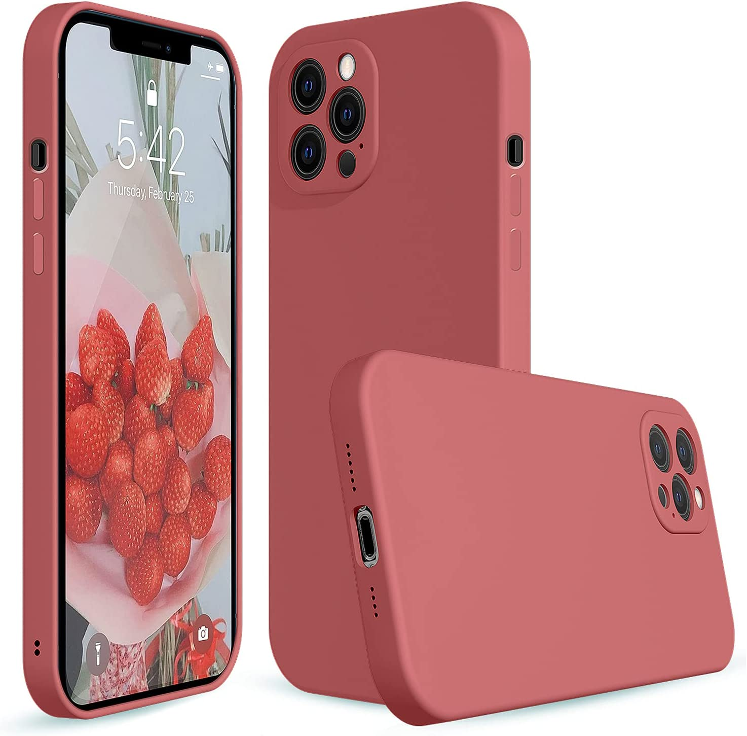 iPhone 12 Pro Silicone Case Camellia,Liquid Silicone Case Compatible with iPhone 12 Pro,Protective Cover Case for iPhone 12pro Camellia 6.1 Inch