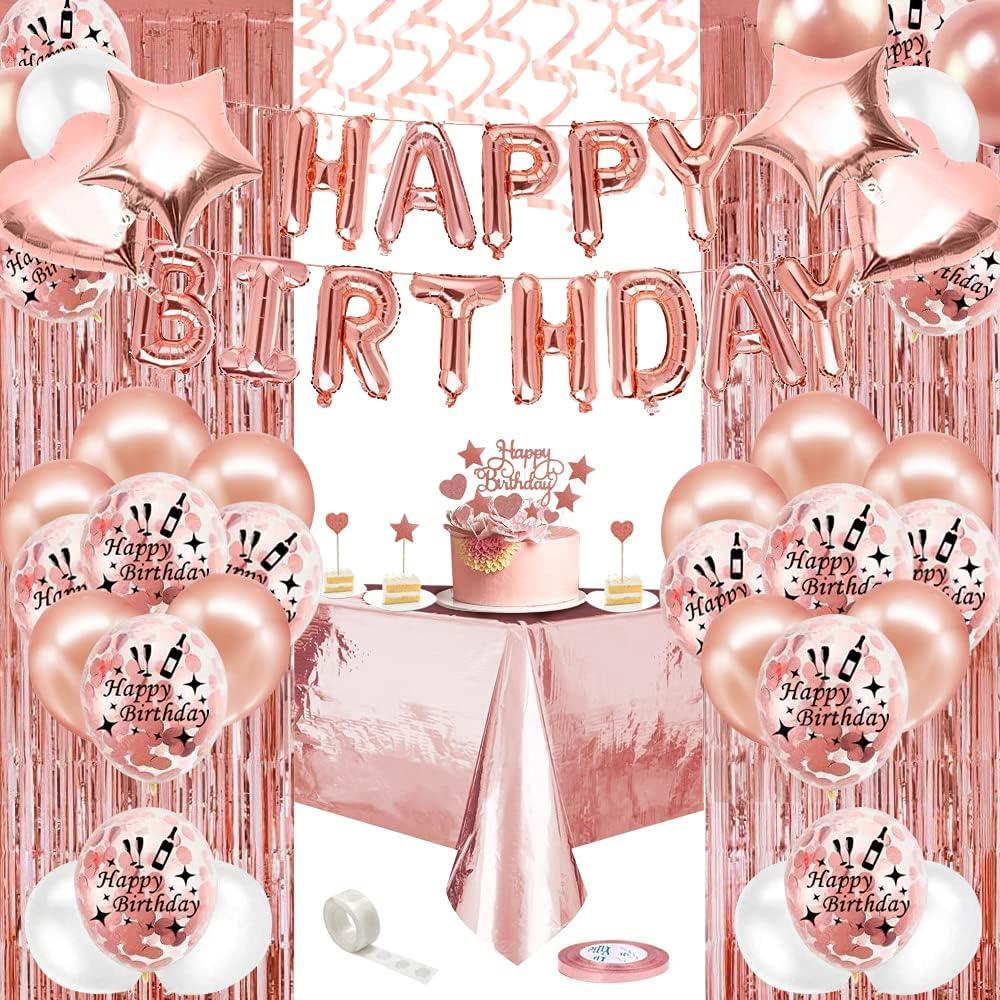 Cumpleaños Fiesta Decoraciones Niña Oro Rosa,Clásico Globos Cumpleaños Oro Rosa con Feliz Cumpleaños Banner,Mantel,Cortina,Látex Confeti Globos,Cumpleaños Fiesta Suministros para Mujeres