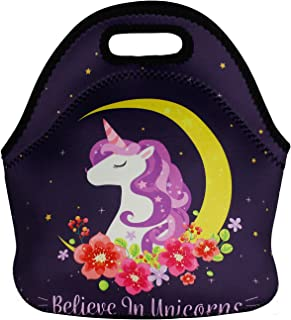Violet Mist Neoprene Lunch Bag Tote Reusable Insulated Waterproof School Picnic Carrying Lunchbox Organizer For Men, Women, Adults, Kids, Girls, Boys (Unicorn8)