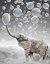 Paint by Numbers for Adults Kids Beginner with Frame, Komidea DIY Paint by Number Kits on Canvas Painting - Happy Elephant 16x20inch