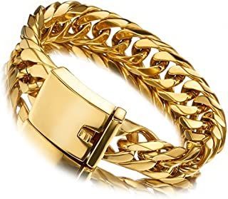 Miami Cuban Link Chain Bracelet 18K Gold 16mm Big Stainless Steel Curb Bangle for Men