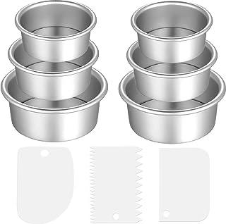 9 Pieces Cake Pan Set Including 6 Pieces Aluminum Baking Cake Pans Round Cake Pans 3 Pieces Dough Scrapers Non-stick Chees...