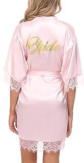Aibrou Damen Morgenmantel Bademantel Kurz Satin Robe Kimono mit Spitze Nachthemd Nachtwäsche Sleepwear mit Gürtel für Braut Brautjungfern