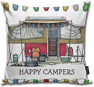 Cute Rv Vintage Popup Camper Travel Trailer Soft Cotton Linen Cushion Cover Pillowcases Throw Pillow Decor Pillow Case Home Decor 18X18 Inch