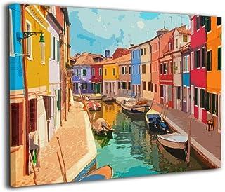 Yanghl カラフルな建物とヴェネツィアのラグーンにあるボートブラーノ島の運河 アートパネル フレーム装飾画 アートフレーム アートポスター アートボード アートポスター インテリア 壁掛け おしゃれ 部屋飾り アートボード Arts モダン