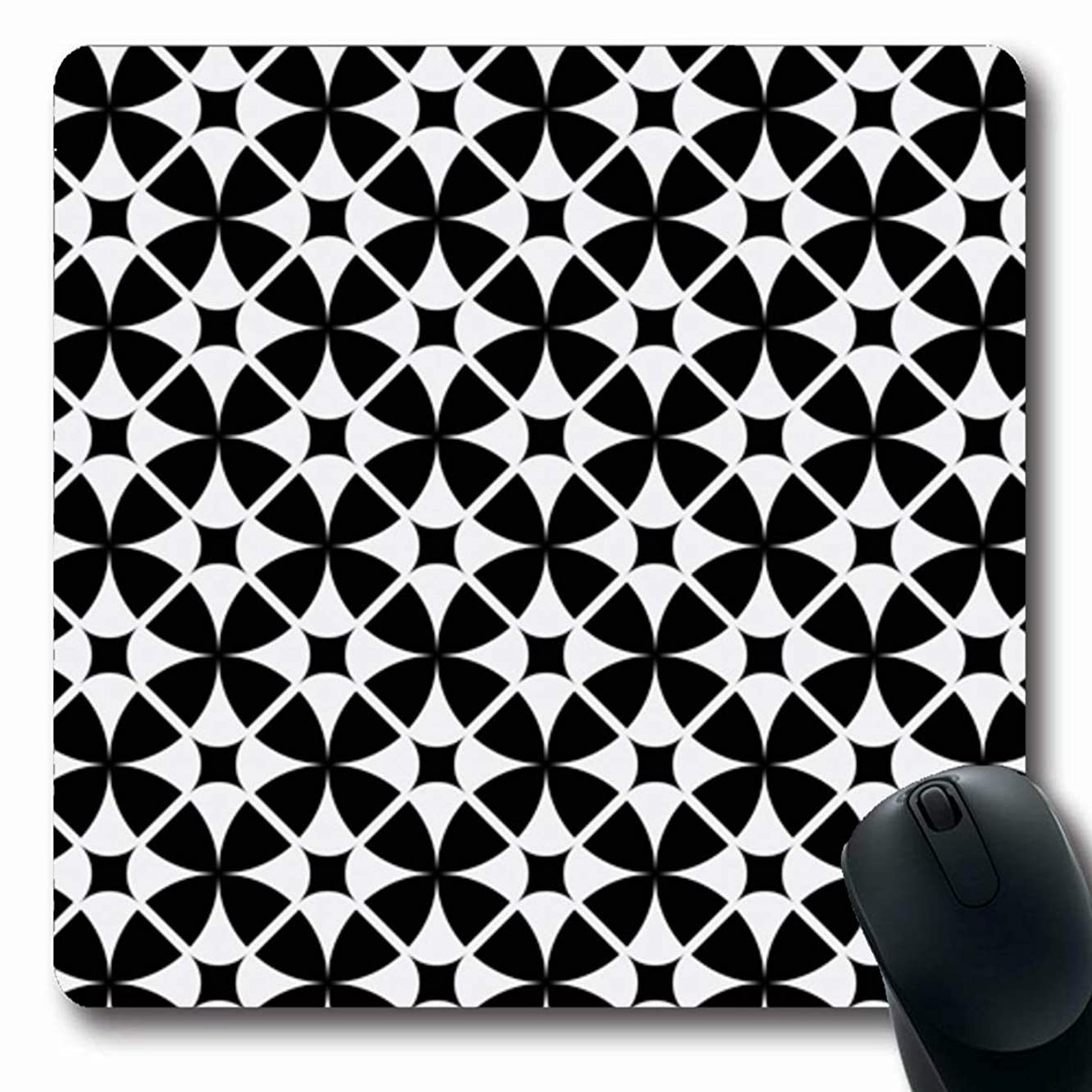 Ahawoso Mousepad for Computer Notebook Circus Diamond Abstract Vintage Geometric Pattern Modern Geo Black Mid Century Quatrefoil White Oblong Shape 7.9 x 9.5 Inches Non-Slip Gaming Mouse Pad