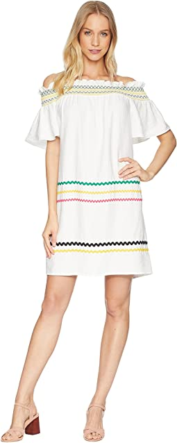 Short Sleeve Off the Shoulder Smocked Shift Dress