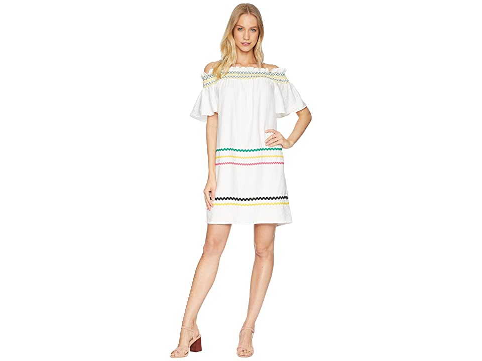 CeCe Short Sleeve Off the Shoulder Smocked Shift Dress (New Ivory) Women