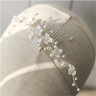 Hair Clip White porcelain flower wedding hair comb vine beads women jewelry handmade bride hair piece ornament (Metallfarb...