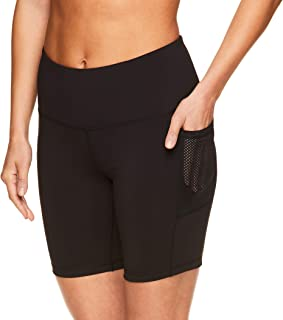Reebok Women's Compression Running Shorts - High Waisted Performance Gym Yoga & Workout Bike Short - 7 Inch Inseam
