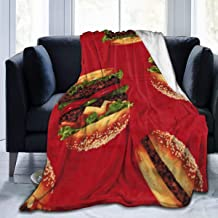 Super Warm Sherpa Flannel Throw Blanket for Sofa Couch Winter/Autumn, Soft Queen Size Sleeping Blanket Throw Poncho Wrap, Funny Red Hamburger Blanket