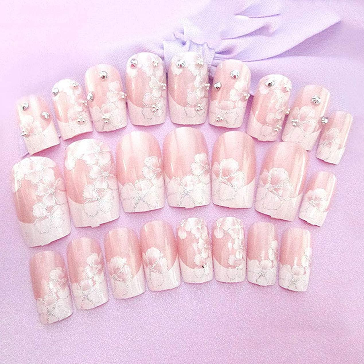 オングラム時計回りXUTXZKA 24個/セット結婚式の花嫁フルネイルのヒント花ラインストーンフェイクネイルツール