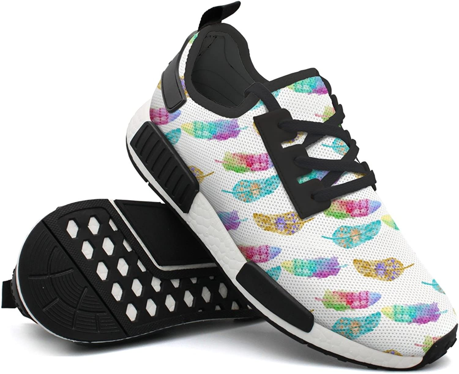 Fashion Sneaker For Men colorful Feather Pattern Simple Lightweight Breathable Mesh Mens Sneakers shoes