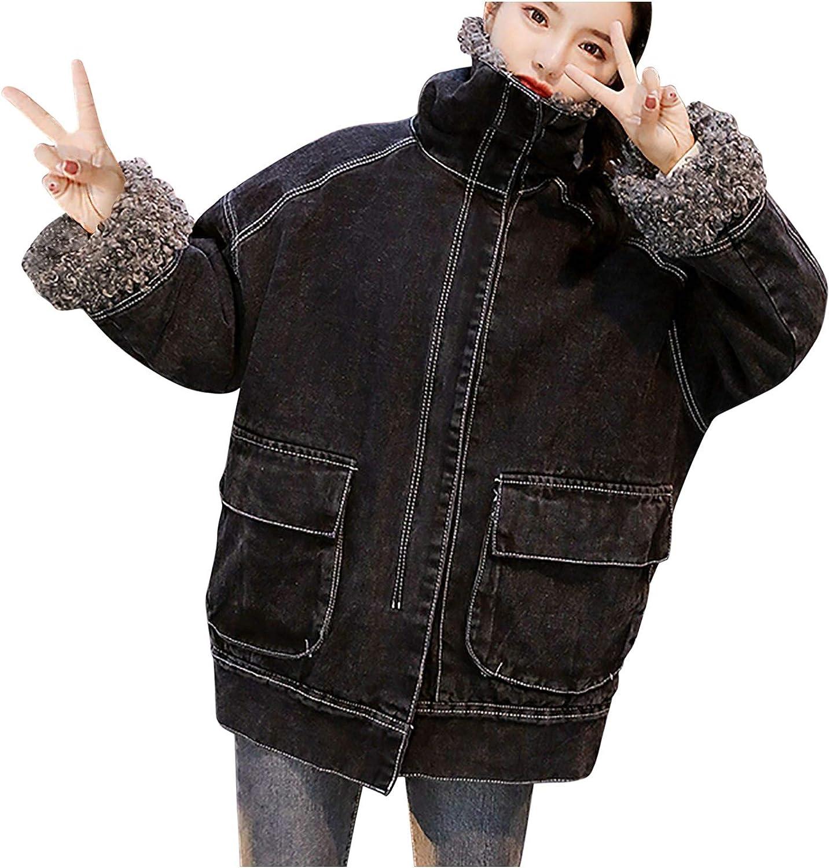 Giulot Women's Lapel Zipper Fleece Oversized Overcoat Trucker Jackets Warm Sherpa Lined Denim Jean Coat with Furry Fur Trim