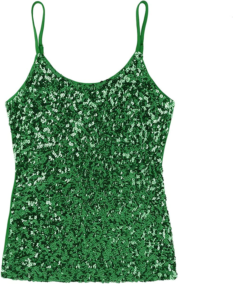 iixpin Womens Shiny Glitter Sequins Camisole Tank Top Vest Tops Tee Shirt Blouse Clubwear