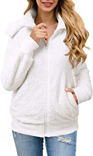 Aliling Womens Warm Hooded Button Lapel & Stand Neck Fleece Jacket Coat Outwear Sweatshirt