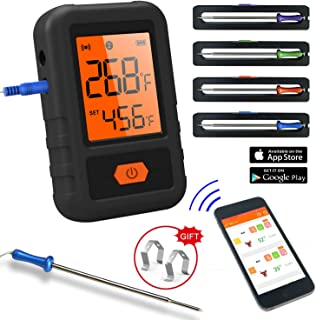 CloudBBQ CL18 - Smart Bluetooth BBQ Grill Thermometer - 4 Probes Outdoor BBQ Meat Smoker - Wireless Remote Alert iOS Andro...