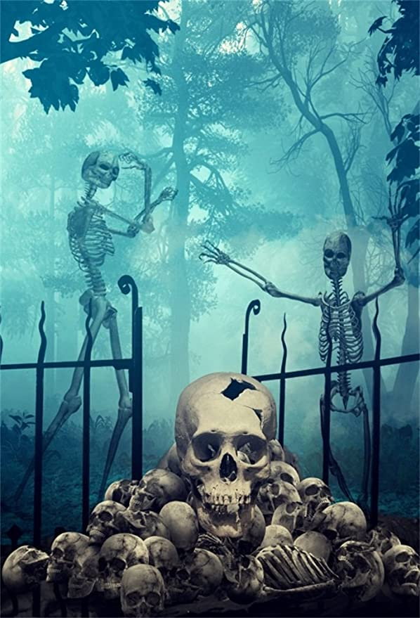 Skull Skeleton Backdrop 8x8ft Tropical Forest Ghost Mountain Island Photography Background Palm Trees Cartoon Backdrop Children Adults Photos