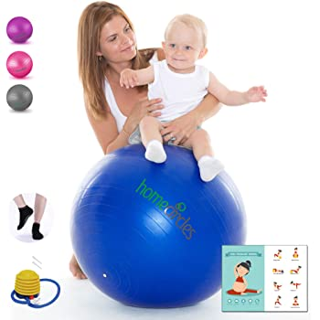 Amazon Com Home Circles Extra Thick Birthing Ball Pregnancy 65cm Big Yoga Birth Ball For Pregnancy And Labor Grip Socks Pdf Exercise Ball Guide Anti Burst Gym Quality Balance