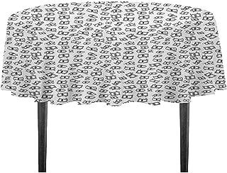 kangkaishi Money Washable Tablecloth Sketch Style Monochrome Raining Dollar Bills Cash Money Flying Bank Notes Design Dinner Picnic Home Decor D51.18 Inch Black White