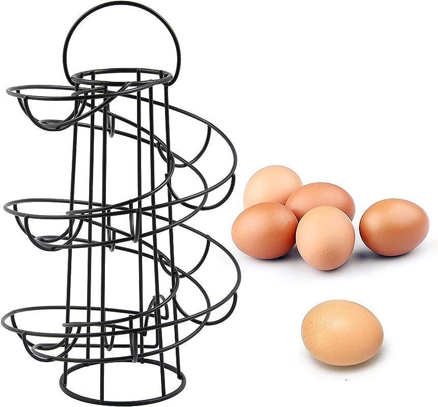 Vencer Deluxe Modern Spiraling Design Metal Freestanding Egg Skelter Dispenser Rack Black VKO 001
