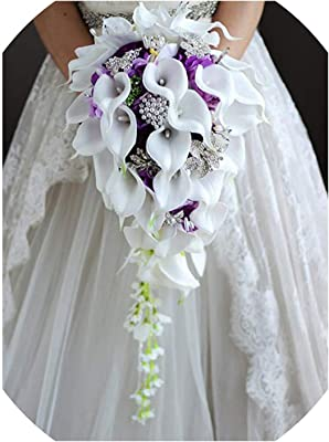 Amazon Com Iffo New Bridal Bouquet Wedding Flowers Calla Lilies