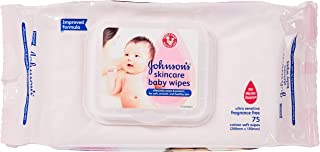 Johnson's Baby Skincare Fragrance Free Wipes, 75ct (Pack of 3)