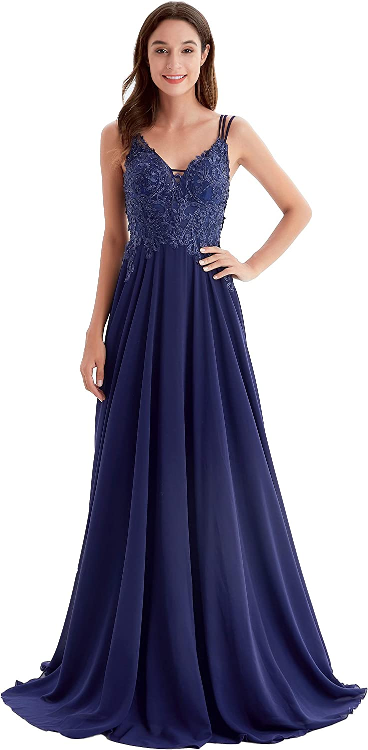 Qing Birdee Formal Dresses for Women V-Neck Floral Lace Long Chiffon Evening Gown