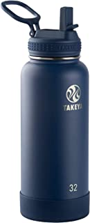 Takeya 51149 Actives Insulated Stainless Steel Bottle w/Straw Lid, 32 oz, Midnight
